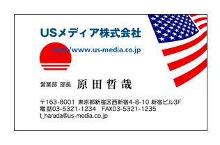 日米友好国旗対比ビジネス名刺